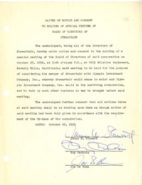 Stewartair Company- Jimmy Stewart Signed document
