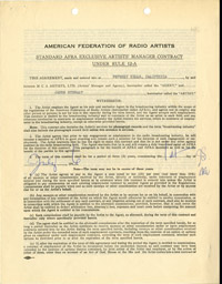 Jimmy Stewart Represenation Contract - SOLD