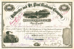 Stillwater & St. Paul Railroad Company - Stock Certificate