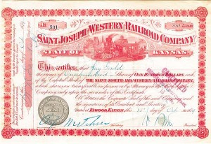 Jay Gould - Saint Joseph & Western Railroad Company - Stock Certificate