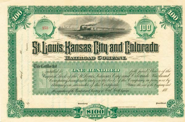 St. Louis, Kansas City and Colorado Railroad Company - Stock Certificate