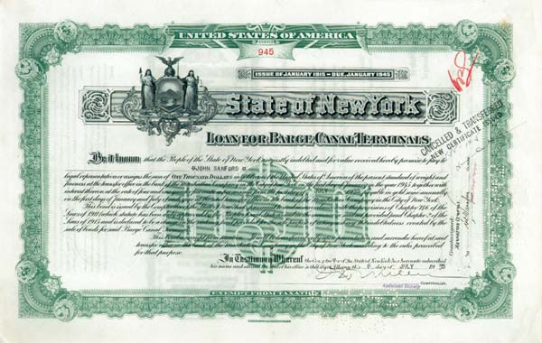 State of New York - Loan for Barge Canal Terminals - Bond