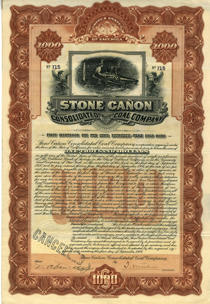 Stone Canon Consolidated Coal Company - SOLD
