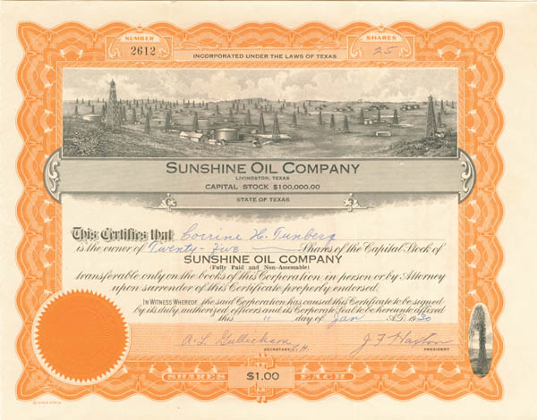Sunshine Oil Co - Stock Certificate