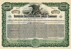 Superior California Farm Lands Company - $1,000