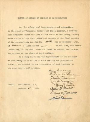 Waiver of Notice of Meeting signed by Thomas A. Edison and Charles Edison