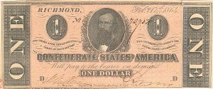 Confederate $1 Note - SOLD
