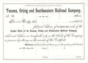 Tacoma, Orting and Southeastern Railroad - Stock Certificate
