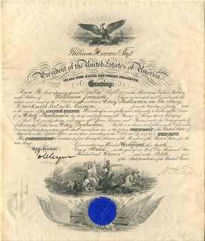 Navy Commission signed by Wm. Howard Taft - SOLD