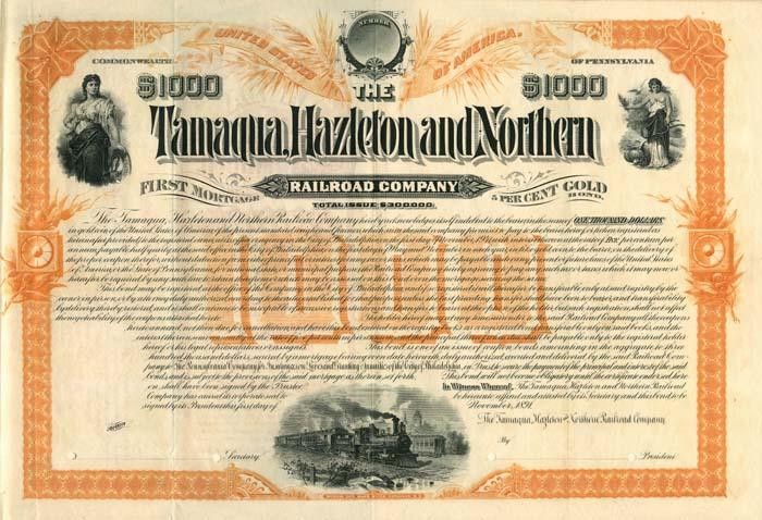 Tamaqua, Hazleton and Northern Railroad Company - SOLD