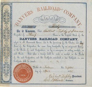 Danvers Railroad Company signed by Gilbert Tapley