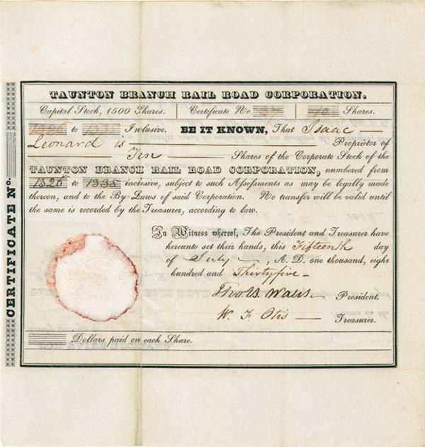 Taunton Branch Railroad - Stock Certificate