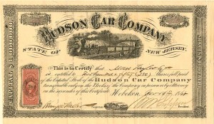 Hudson Car Company issued to Moses Taylor - SOLD