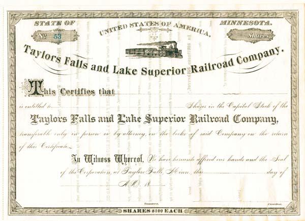 Taylors Falls and Lake Superior Railroad Company - Stock Certificate