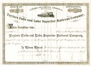 Taylors Falls and Lake Superior Railroad Company - Stock Certificate