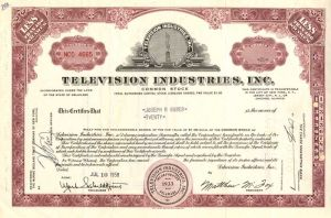 Television Industries, Inc  - Stock Certificate