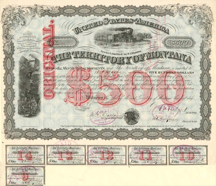 Territory of Montana - Very Rare Gorgeous $500 Bond with Red Underprint