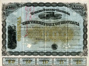 Territory of Montana - Very Rare Gorgeous $1000 Bond with Gold Underprint