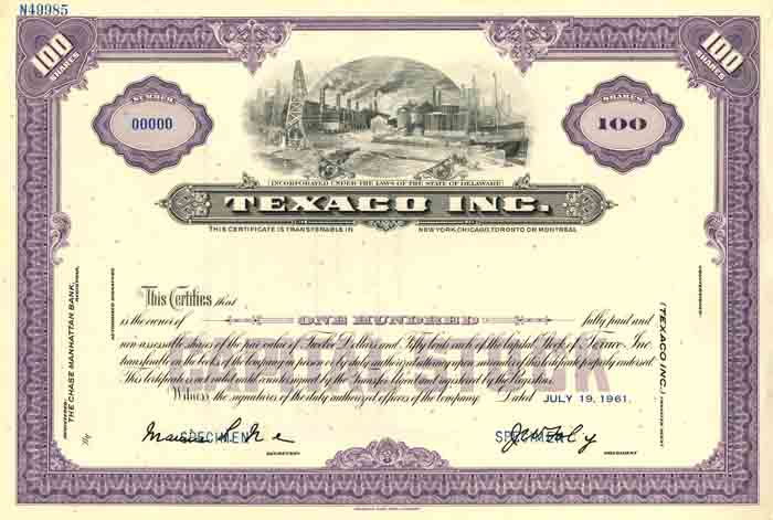 Texaco Inc. - Stock Certificate