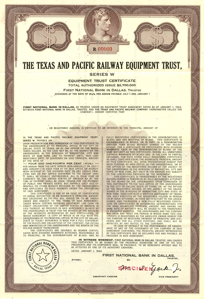 Texas and Pacific Railway Equipment Trust - Specimen - Bond