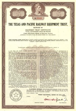 Texas and Pacific Railway Equipment Trust - Specimen