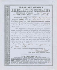 Texas and German Emigration Company - SOLD