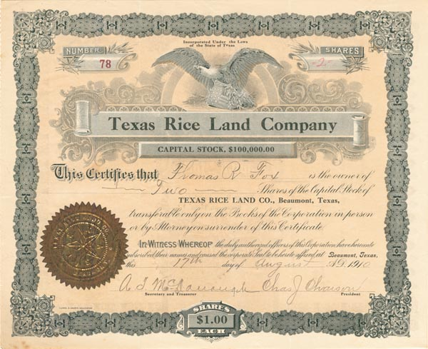 Texas Rice Land Company - SOLD