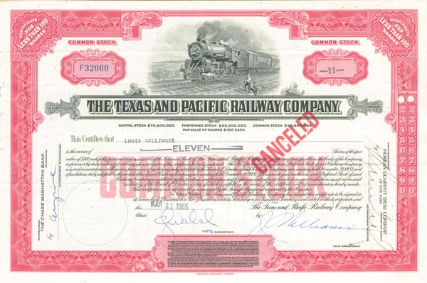 Texas and Pacific Railway Company - SOLD