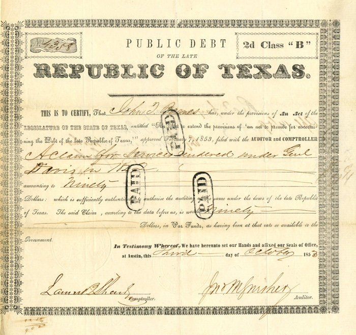Republic of Texas Bond - SOLD