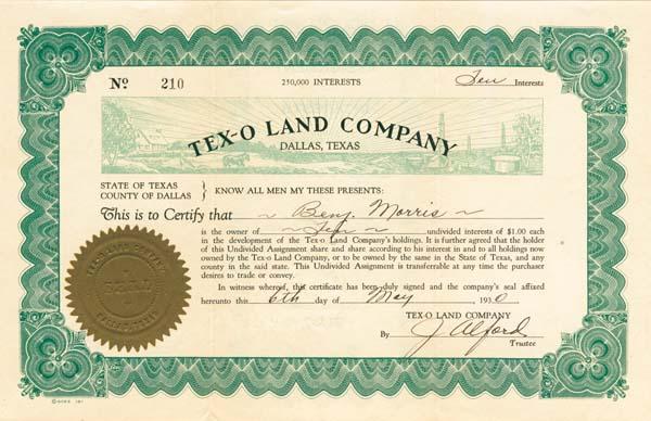 Tex-O Land Company - Stock Certificate (Uncanceled)