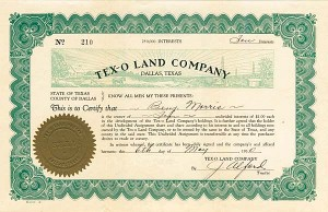 Tex-O Land Company - Stock Certificate - SOLD