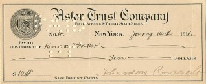 Theodore Roosevelt signed Check