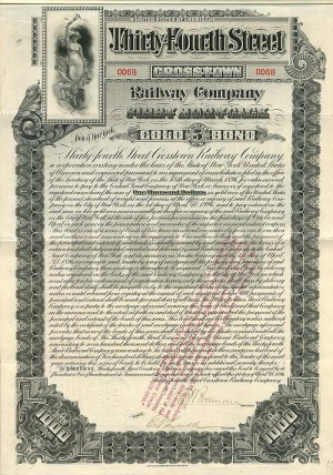 Thirty Fourth Street Crosstown Railway Company - $1,000 Bond