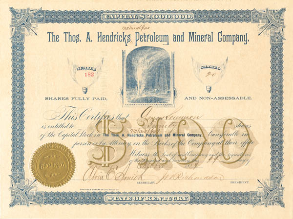 Thos A. Hendricks Natural Gas Petroleum and Mineral Company. - Stock Certificate