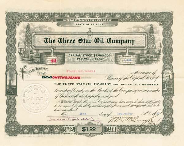 Three Star Oil Company - Stock Certificate