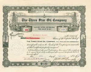 Three Star Oil Company - Stock Certificate