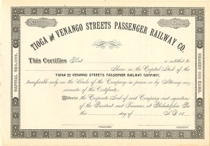 Tioga and Venango Streets Passenger Railway Co - SOLD