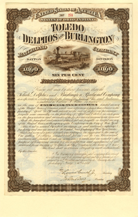 Toledo Delphos and Burlington Railroad Company $1000 Bond