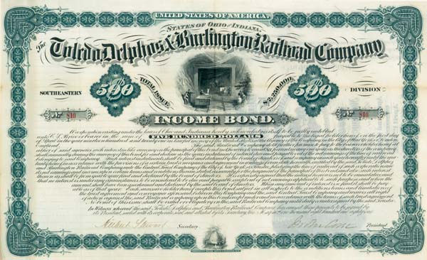 Toledo, Delphos & Burlington Railroad Company - $500 or $1,000 - Bond