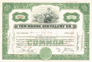 Tom Moore Distillery Co - Stock Certificate - SOLD