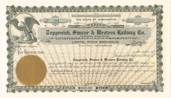 Toppenish, Simcoe and Western Railway Co. - Stock Certificate
