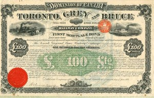 "Toronto, Grey and Bruce Railway Company ""SOLD"""