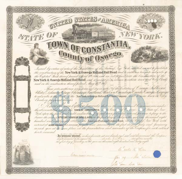 New York & Oswego Midland Railroad - $500 Bond