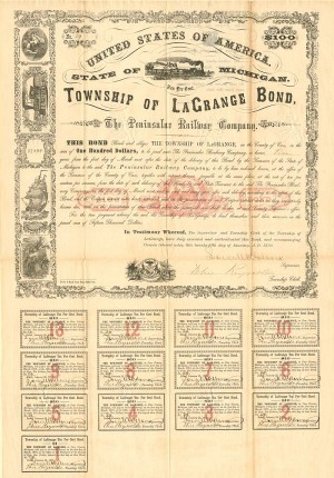 Peninsular Railway Company - Township of La Grange Bond