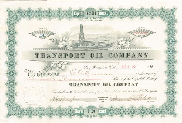 Transport Oil Company - Stock Certificate