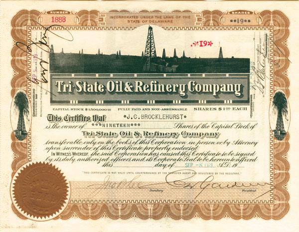 Tri-State Oil & Refinery Company - Stock Certificate