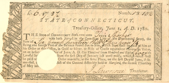 Connecticut Line Note Signed by African American Revolutionary War Soldier Tuis Sharper - SOLD