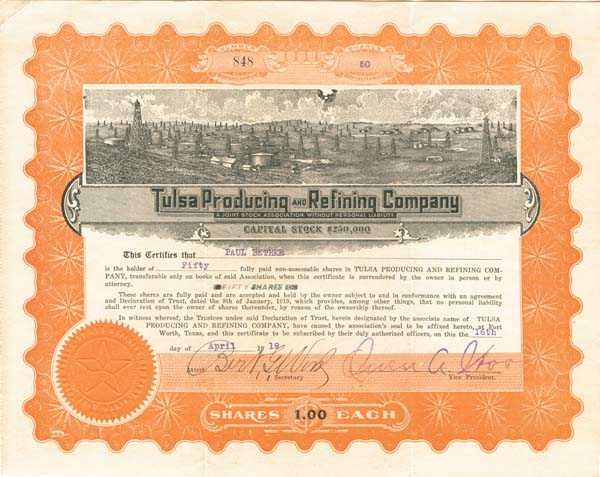 Tulsa Producing & Refining Co - Stock Certificate