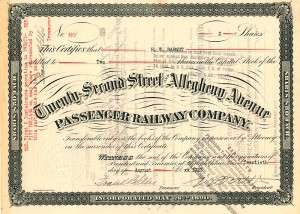 Twenty-Second Street and Allegheny Avenue Passenger Railway Co - SOLD