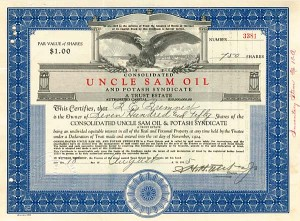 Consolidated Uncle Sam Oil & Potash Syndicate - Stock Certificate